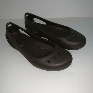 "Women's crocs ""Kadee"" flats slip on shoes brown 7"